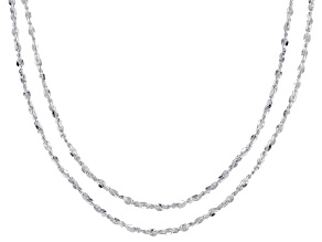 Sterling Silver Flat Rolo Link Chain Necklace Set 20 & 24 Inch