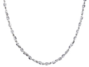 Sterling Silver 1MM Diamond Cut Twisted Oval Rolo Chain Necklace 24 Inch