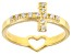 White Cubic Zirconia 18K Yellow Gold Over Sterling Silver  Ring .05ctw