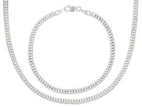 Sterling Silver Link Chain Necklace 18 Inch & Matching Bracelet 7.5 Inch