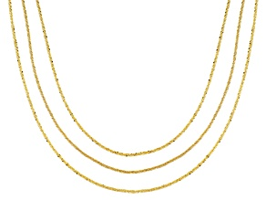 18K Yellow Gold Over Sterling Silver Criss Cross Link Chain Necklace Set 18, 20, & 22 Inch