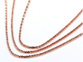 18K Rose Gold Over Sterling Silver Diamond Cut Criss Cross Link Necklace Set 18, 20, & 22 Inch