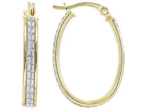 18k Yellow Gold Over Sterling Silver 15MM Glitter Pattern Oval Hoop Earrings