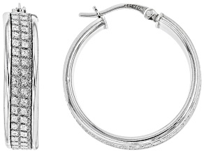 Rhodium Over Sterling Silver 21 MM Glitter Pattern Hoop Earrings