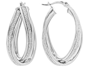 Rhodium Over Sterling Silver 12MM Crossover Glitter Pattern Hoop Earrings
