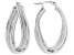 Rhodium Over Sterling Silver 12MM Crossover Glitter Pattern Hoop Earrings