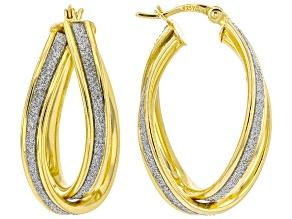 18k Yellow Gold Over Sterling Silver 12MM Crossover Glitter Pattern Hoop Earrings