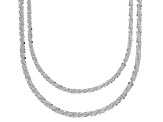 Sterling Silver Diamond Cut Criss Cross Chain Necklace Set 18 & 20 Inch