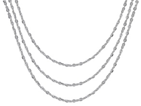 Sterling Silver Flat Twisted Rolo Chain Set 18, 20, & 24 Inch