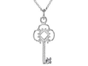Sterling Silver Key Pendant With Diamond Cut Rolo Chain 18 Inch