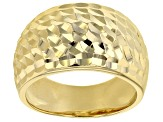 18K Yellow Gold Over Sterling Silver Hammered Wide Band Ring
