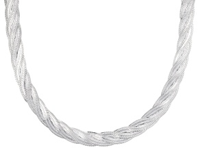 Sterling Silver 6.5MM Diamond Cut Braided Herringbone Chain Necklace 18 Inch