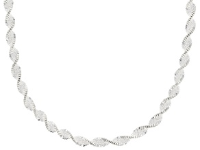 Sterling Silver 1MM Diamond Cut Pave Twisted Herringbone Chain Necklace 18 Inch
