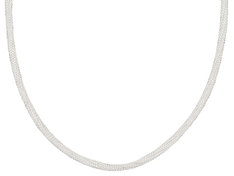 Sterling Silver 2MM Hollow Diamond Cut Designer Snake Chain Necklace 18 Inch
