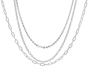 Sterling Silver Cable, Rolo, & Textured Rolo Chain Necklace Set 18, 20, & 24 Inch