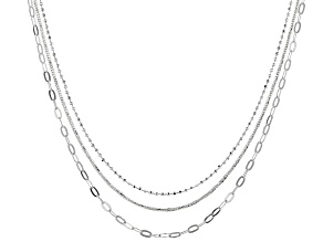 Sterling Silver Diamond Cut Bead, Snake, & Flat Cable Chain Necklace Set 18, 20, & 24 Inch