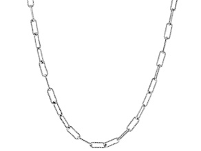 Sterling Silver Diamond Cut Open Link Chain Necklace 20 Inch