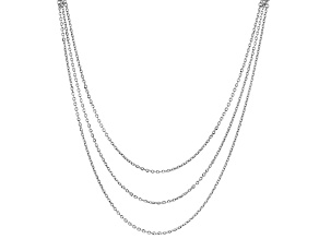 Sterling Silver Bismark With Graduated Rolo Multi-Link Chain Necklace 18 Inch With 2 Inch Extender