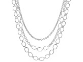 Sterling Silver Rolo, Link With Rolo, And Cable Link Chain Necklace Set 18, 20, 24 Inch