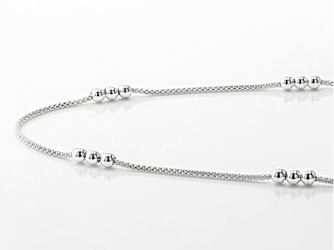 Sterling Silver Popcorn Chain Link With Bead Station Necklace 18 Inch With 2 Inch Extender