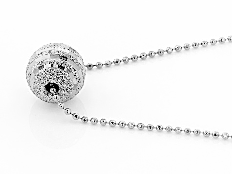 Sterling Silver Bead Chain With Diamond Cut Central Bead Necklace 18 Inch