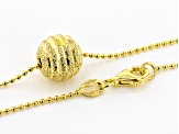 18K Yellow Gold Over Sterling Silver Bead Chain With Diamond Cut Central Bead Necklace 18 Inch