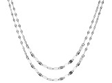 Sterling Silver Hammered & Link Mirror Chain Necklace Set 24 And 28 Inch