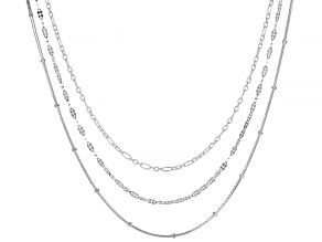 Sterling Silver Flat Disc, Alternated Rolo, And Snake With Bead Chain Necklace Set 18 Inch