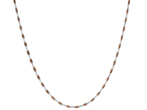 Sterling Silver & 18K Rose Gold Over Silver Diamond Cut Square Snake Chain Necklace 20 Inch