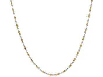 Picture of Sterling Silver & 18K Yellow Gold Over Silver Diamond Cut Square Snake Chain Necklace 20 Inch