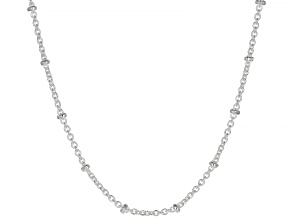 Sterling Silver Rolo With Station Bead Chain Necklace 20 Inch