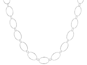 Sterling Silver Open Link With Alternating Rolo Chain Necklace 24 INch
