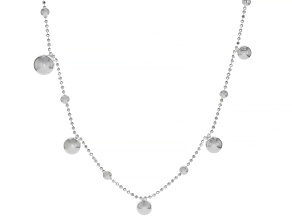 Sterling Silver Bead With Bead Drop Station Chain Necklace 28 Inch