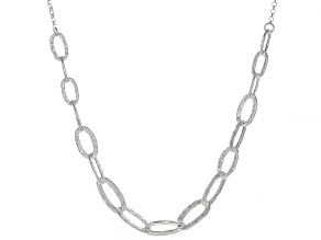 Sterling Silver Rolo Chain With Hammered Open Link Necklace 18 Inch With 2 Inch Extender