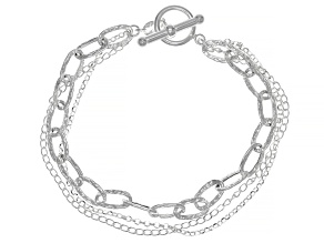 Sterling Silver Multi Chain Toggle Bracelet 7.5 Inch