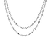Sterling Silver Diamond Cut Singapore Chain Necklace Set 18 Inch, And 20 Inch