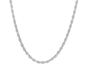 Sterling Silver 2.5MM Diamond Cut Rope Chain Necklace