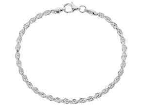Sterling Silver Diamond Cut Rope Chain Bracelet
