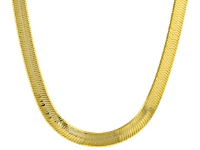 18K Yellow Gold Over Sterling Silver 7mm Herringbone Chain Necklace