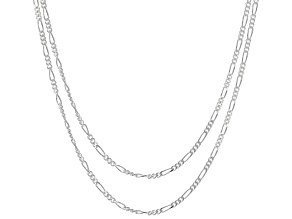 Sterling Silver Diamond Cut Figaro Chain Necklace Set 18 Inch, And 20 Inch