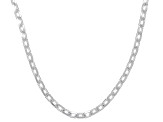 Sterling Silver Diamond Cut Oval Rolo Chain Necklace