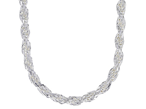 Sterling Silver Diamond Cut Rope Chain Necklace