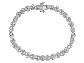 Sterling Silver Rosetta Link Bracelet With Magnetic Clasp 8 Inch