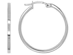 Sterling Silver Polished Square Shape Hoop Earrings