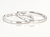 Sterling Silver Polished Square Tube 25mm Hoop Earrings