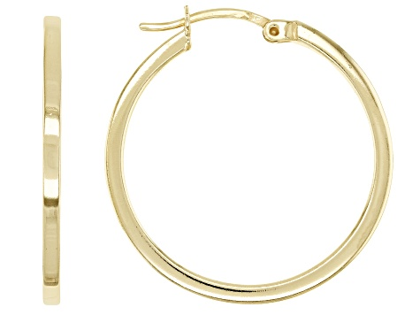 18K Yellow Gold Over Sterling Silver Polished Square Tube 25mm Hoop Earrings