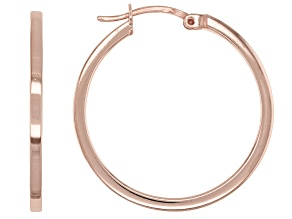 18K Rose Gold Over Sterling Silver Polished Square Tube 25mm Hoop Earrings