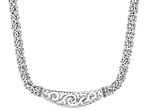 Sterling Silver Scroll Design Graduated Byzantine Necklace With Blue Cubic Zirconia