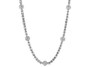 Sterling Silver Station Bead Design Byzantine Necklace 18 Inch