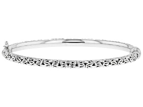 Sterling Silver Oval Shape Byzantine Hinged Bangle Bracelet 7.25